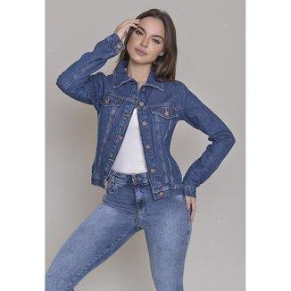 Jaqueta Jeans Dialogo Stone Com Botões Frontais E Feminina