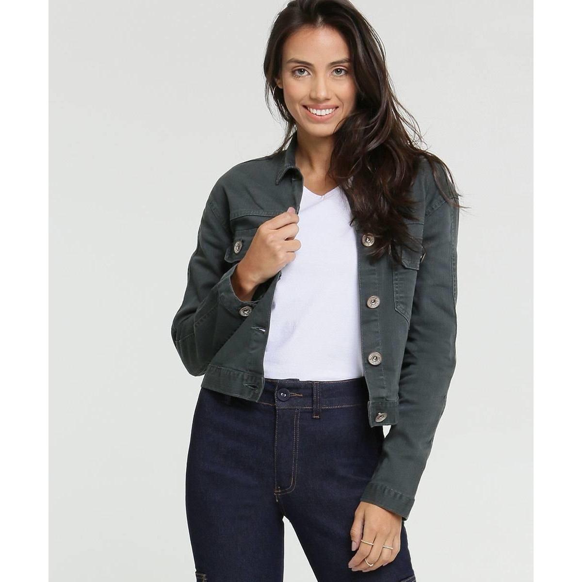 Jaqueta Jeans Doct Cropped Feminina - Cinza