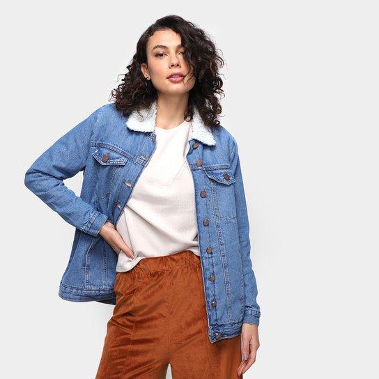 Jaqueta Jeans Dzarm Trucker Feminina - Azul