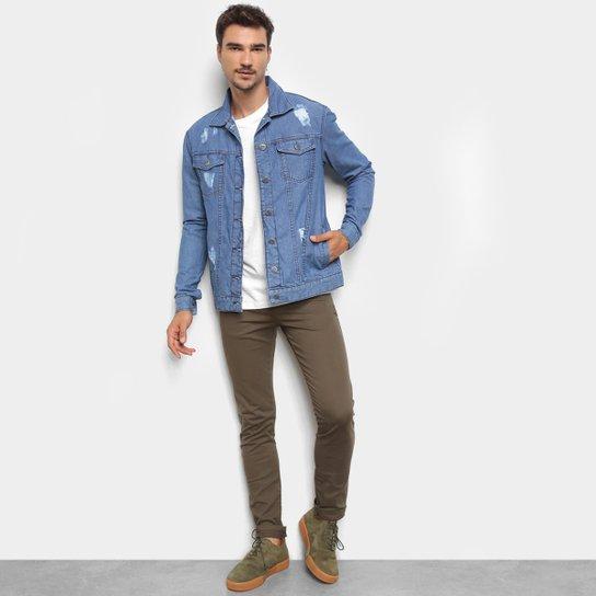 Jaqueta Jeans Ecxo Básica Puídos Masculina - Azul