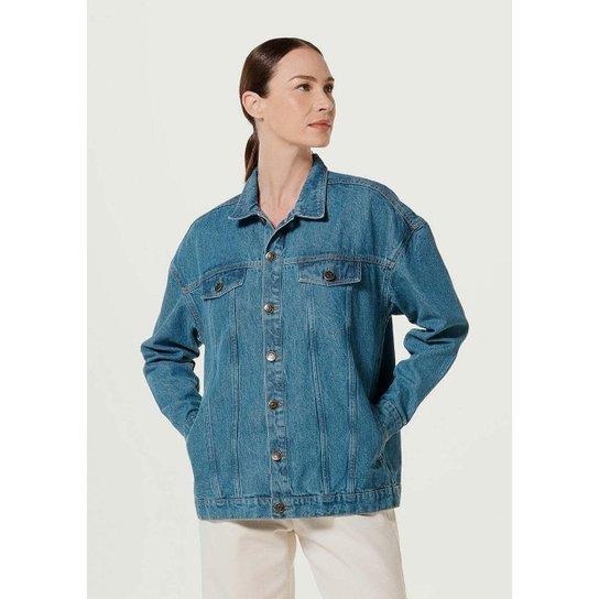 Jaqueta Jeans Feminina Oversized - Azul