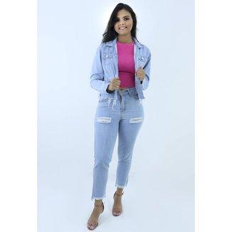 Jaqueta Jeans Feminina Tradicional Barra Desfiada Lançamento