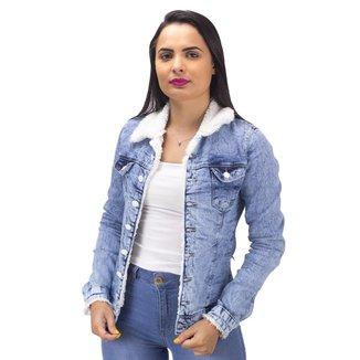 Jaqueta Jeans Gola de Pelo Naraka