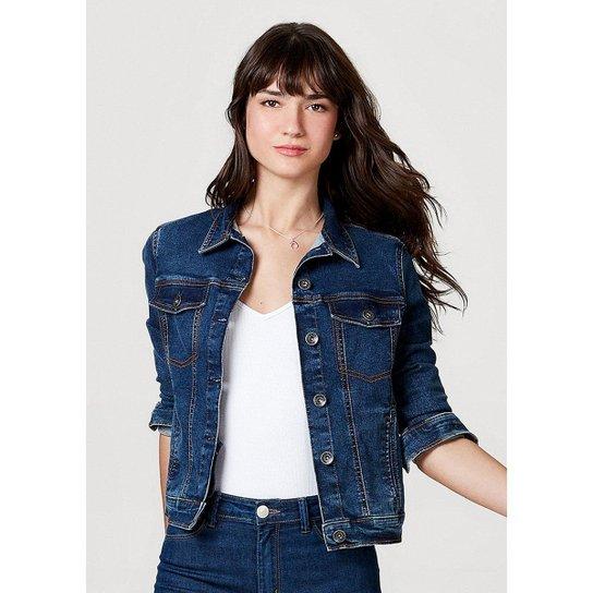 Jaqueta Jeans Hering Moletom Feminina - Azul