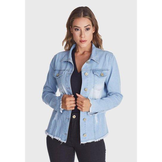 Jaqueta Jeans HNO Jeans Desfiada Delavê Azul - Azul