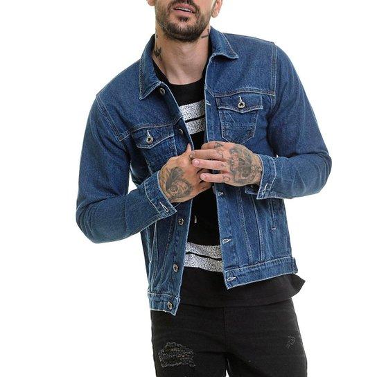 Jaqueta Jeans Indigo Slim Fit Offert Masculina - Azul