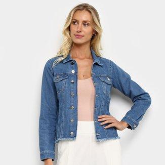 Jaqueta Jeans Influencer Barra Desfiada Feminina