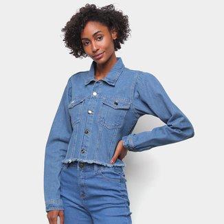 Jaqueta Jeans Influencer Cropped Manga Bufante Barra Desfiada Feminina