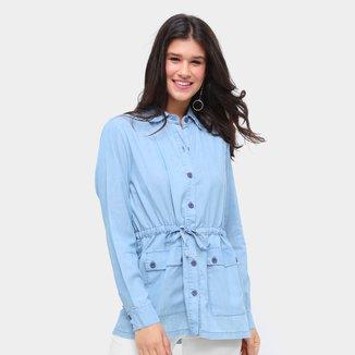 Jaqueta Jeans Influencer Parka Amarração Feminina