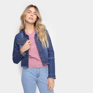 Jaqueta Jeans Just Denim Barra Desfiada Feminina