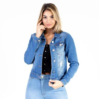 Jaqueta Jeans Lavagem Média Lady Rock