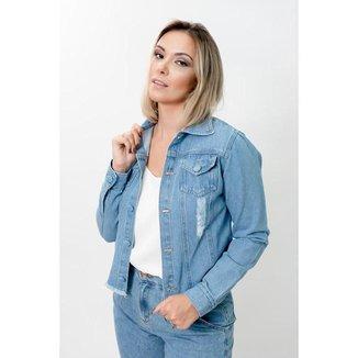 Jaqueta Jeans Lisa com Botões Forrados e Barra De