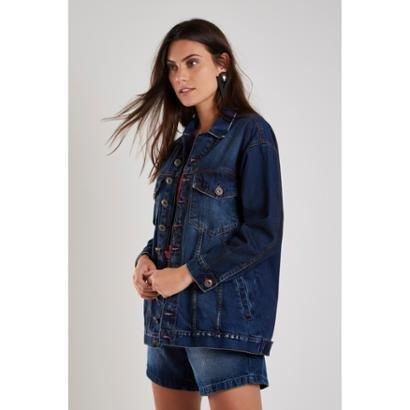 Jaqueta Jeans Longa Used Sacada Feminina