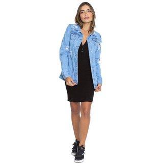 Jaqueta Jeans Maxi Le Julie Feminina