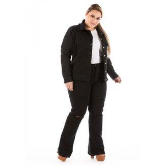 Jaqueta Jeans New Stretch com Puídos Plus Size Feminina
