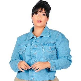 Jaqueta Jeans Plus Size Clara Barra Desfiada Manga Longa