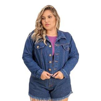 Jaqueta Jeans Plus Size Feminina Manga Longa Com Botões