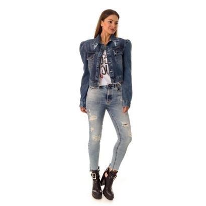 Jaqueta Jeans Puff Opera Rock Feminina