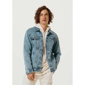 Jaqueta Jeans Trucker Com Lavanderia