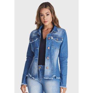 Jaqueta Jeans Zuren Used Barra Assimétrica Azul