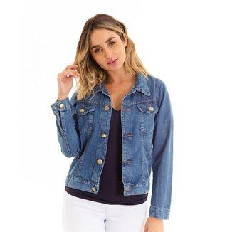 Jaqueta Kassis Jeans com Bolso Feminina