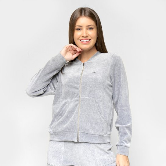 Jaqueta Marialicia Plush Básica Feminina - Cinza