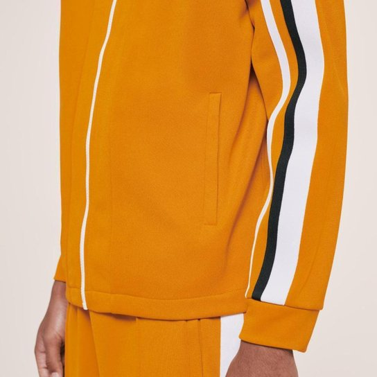 Jaqueta masculina Lacoste x Ricky Regal em piqué com listras contrastantes e zíper - Amarelo