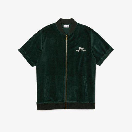 Jaqueta masculina Lacoste x Ricky Regal em veludo com zíper - Verde