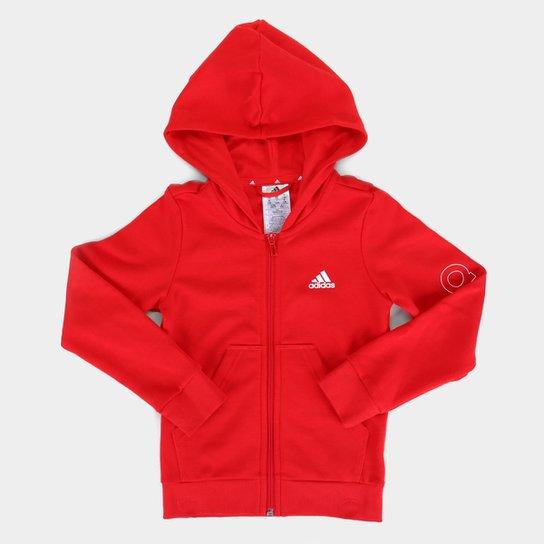Jaqueta Moletom Infantil Adidas Essentials Linear Com Capuz Feminina - Vermelho+Branco