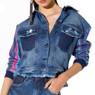Jaqueta Onça Preta Cropped Manga Paete Jeans
