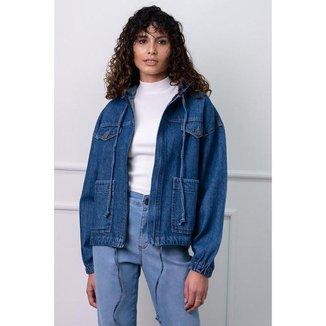 Jaqueta Parka Jeans com Bolsos