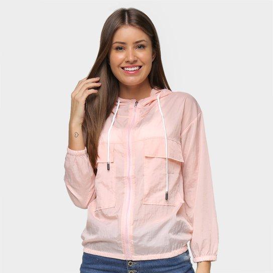 Jaqueta Road Mel Nylon Capuz Bolso Frontal Feminina - Rosa