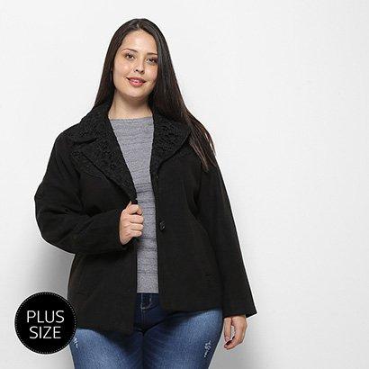Jaquetas E Casacos Queen's Feminino Casaco Lã Batida Plus Size Com Renda-Cs18484-Feminino