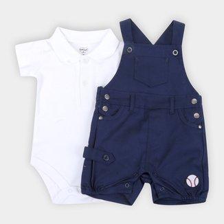 Jardineira Bebê Tip Top Com Body Polo Masculino