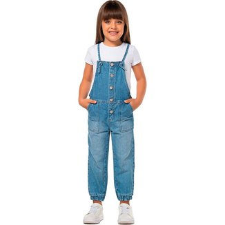 Jardineira Jeans Infantil  Mania Kids Feminina