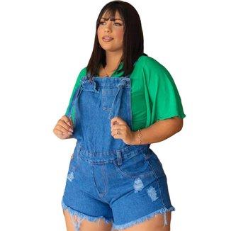 Jardineira Short Jeans Feminino Plus Size Alça Amarração