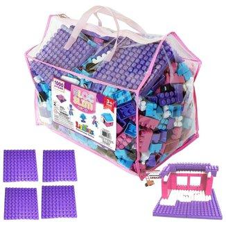 Jogo Brinquedos Blocos De Montar 1000 Peças Com Base Infantil Menina Didatico Educativos Pedagogico