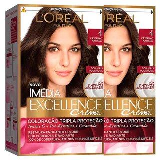 Ki Coloração Imédia L'Oréal Paris Excellence 4 Cast. Natural - 2 Unidades