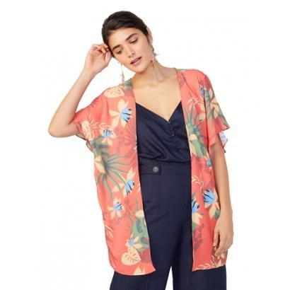 Kimono Amaro Estampado Praia Feminino