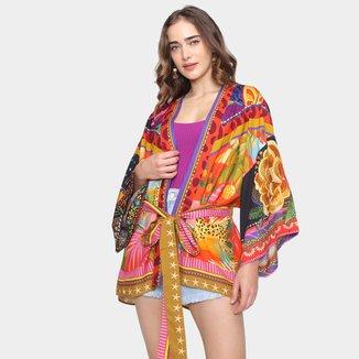Kimono Farm Misturinha De Lenços Feminino
