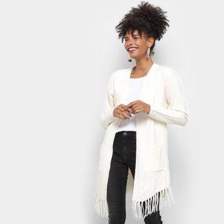 Kimono Lily Fashion Tricot Franja Feminino