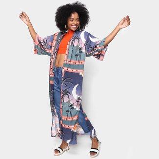Kimono Mercatto Longo Estampado Feminino