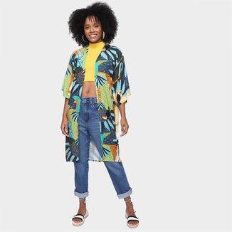 Kimono Mercatto Midi Estampado Feminino