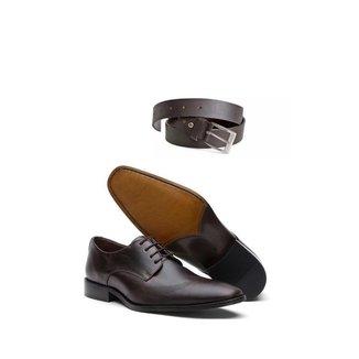 KIT 01 Par de Sapatos Crazy Horse + Cinto de Couro