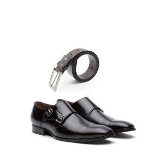 KIT 01 Par de Sapatos Cromo + Cinto de Couro