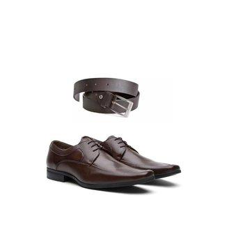 KIT 01 Par de Sapatos Pelica + Cinto de Couro