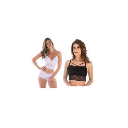 Kit 02pcs Cropped Rendado Sem Bojo Preto e Conjunto Sem Bojo Todo em Renda Branco Diario Intimo Feminino-Branco+Preto