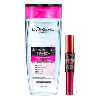 Kit 1 Água Micelar Bifásica Solução de Limpeza Facial 5 em 1 L Oréal Paris 200ml 1 Máscara