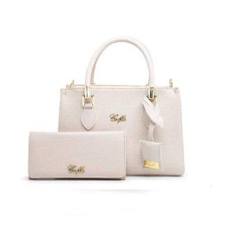 Kit 1 Bolsa Handbag Fechamento Zíper + 1  Carteira Feminina