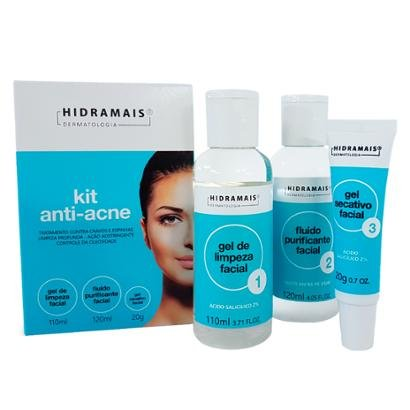 Kit 1 Gel de Limpeza Facial - 110ml 1 Fluido Purificante 120ml 1 Gel Secativo 20g